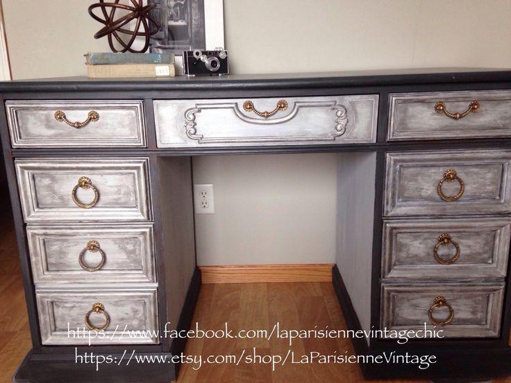 Vintage Desk, painted desk, gray desk, silver desk by LaParisienneVintage on Etsy https://www.etsy.com/listing/260792962/vintage-desk-painted-desk-gray-desk