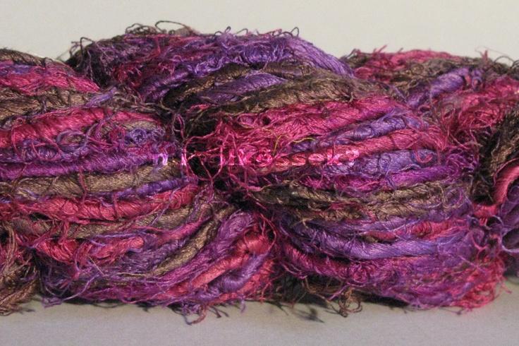 sari silk yarn in color 'orchid' one of the most beautiful color-harmonies: pink, purple, chocolate! / szári selyem fonal orchideák színben. az egyik legszebb színharmónia: pink, lilák és csokoládé!