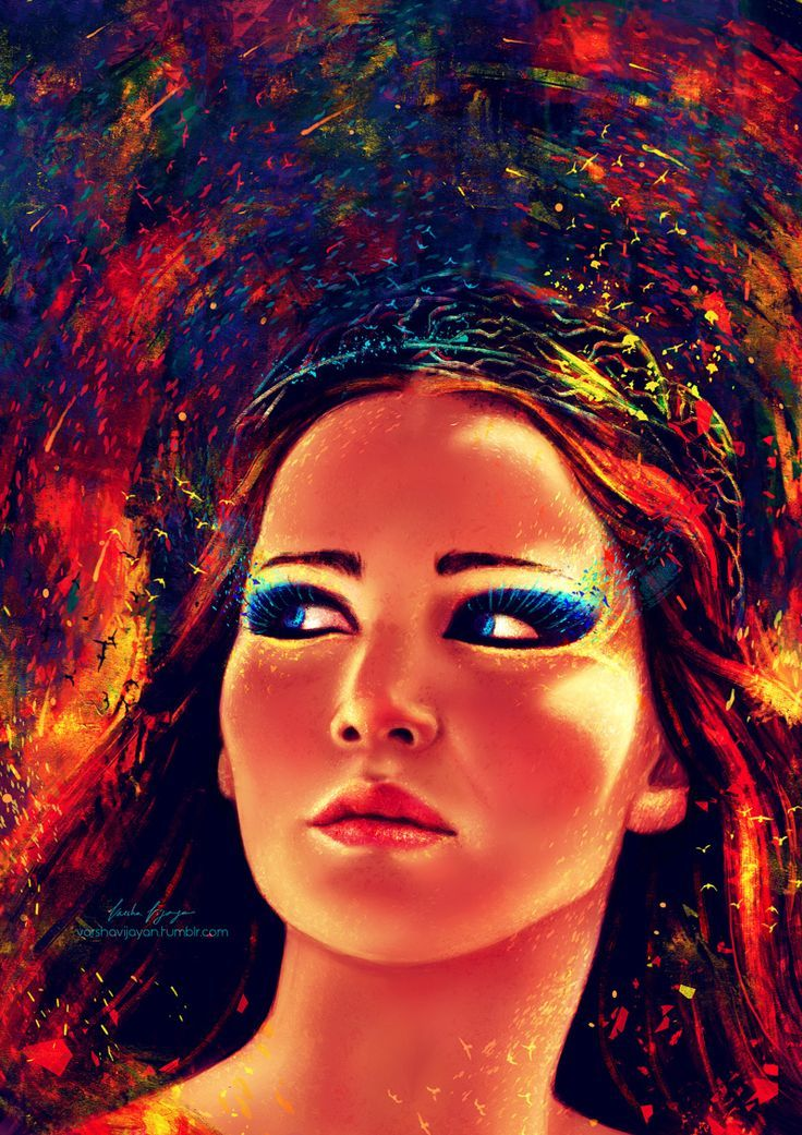 """Geek Cave \""""Fire is catching.\"""" Digital illustration of #KatnissEverdeen from #CatchingFire"""