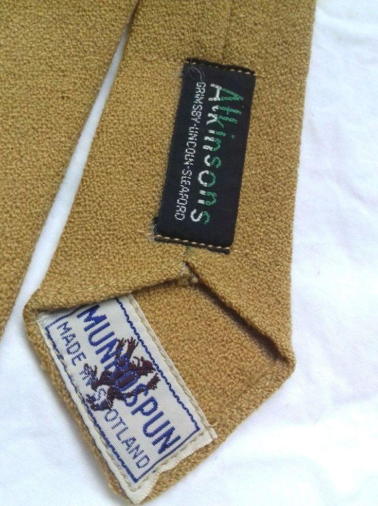 "Vintage slim Tie mustard Atkinsons MUNROSPUN Scotland Tweed Run Fancy Dress 3"" #AtkinsonsMUNROSPUN #Tie"