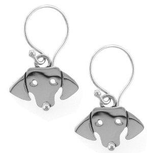 Dachshund Dog Face Sterling Silver Earrings