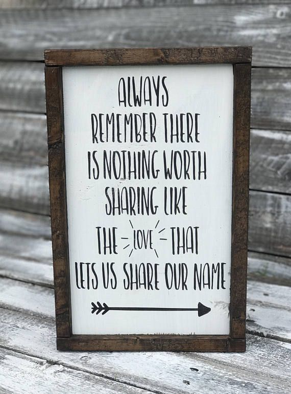 The love that lets us share our name rustic wood framed word