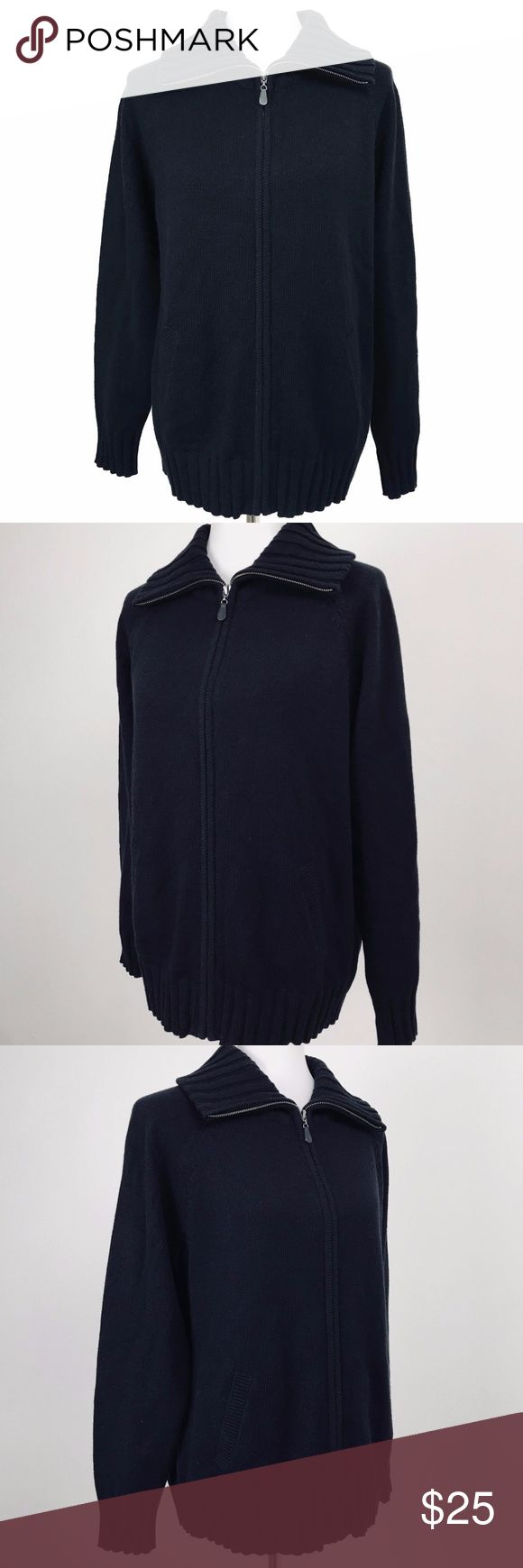 """NWT Karen Scott Black Full Zip Sweater Jacket New with Tags. Warm Knit Sweater/Jacket. Wing Collar, Full Zip, Side Pockets. Measurements (taken with garment laying flat): Bust: 42"""" unstretched (armpit to armpit x 2). Length: 26"""" (top of shoulder to bottom hem). Karen Scott Jackets & Coats"""