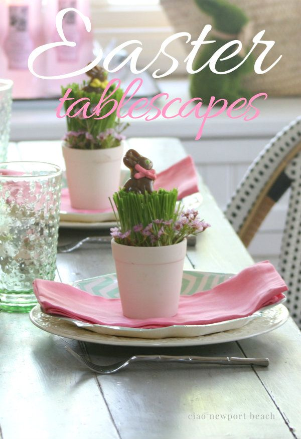 Let's start with my latest Easter tablescape  that's so perfect for the kids! Edible wheat grass is set in little clay pots and then planted with a chocolate bunny pop!