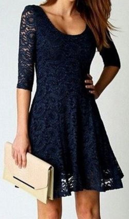 ★ NAVY BLUE SCOOP NECK - 3/4 SLEEVES - LACE DRESS