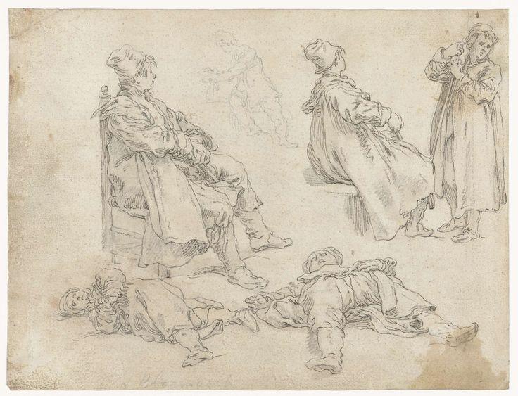 Abraham Bloemaert   Vijf jongens, Abraham Bloemaert, 1625 - 1629   Twee zittende jongens, en profil, in identieke poses, twee liggende jongens en één staande.