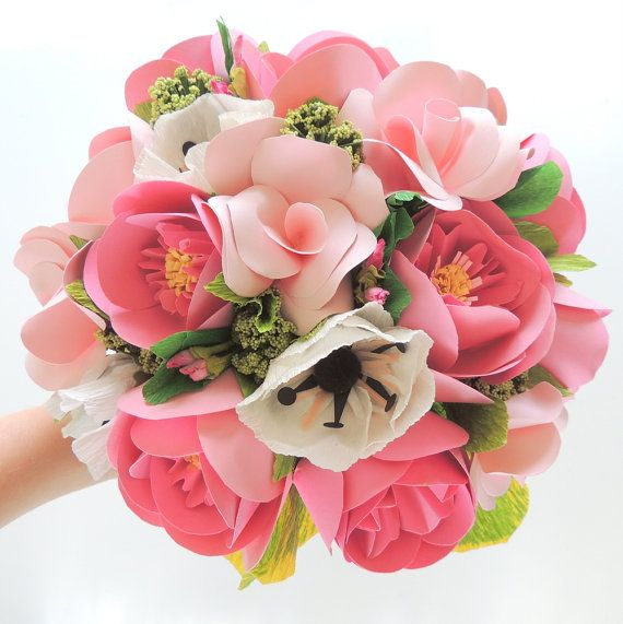 Posy Pink Handmade Paper Bridal package - Bridal, Bridesmaid, and Boutonniere. on Etsy, $300.00