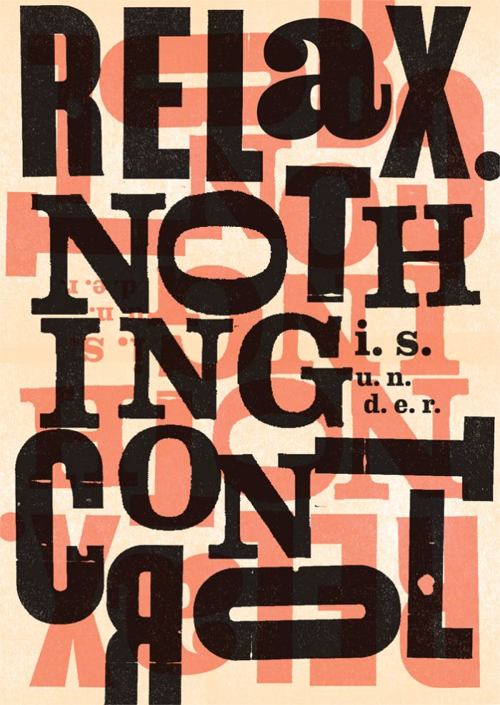 RELAX. NOTHING IS UNDER CONTROL. High quality graphic prints for sale at www.neigaard.dk/shop. A3 (30x42 cm) and A2 (42x60 cm). Limited edition of 150 pieces.  Signed by artist. Ship worldwide.