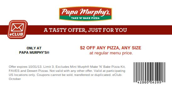 https://twitter.com/PapaMurphys_. Papa Murphys coupon $2 Papa Murphy's Coupon Print coupon for a $2 discount on any size pizza at regular menu price. http://papamurphyscoupons.com/