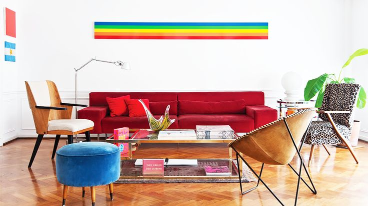Sofas 101: The Ultimate Guide to Shopping for a Sofa // rainbow, red sofa: Sofas Couch, Rooms Envy, Living Rooms, Colors Families Rooms, Art Design, Sofas 101, Design Cities, Design, Living Space