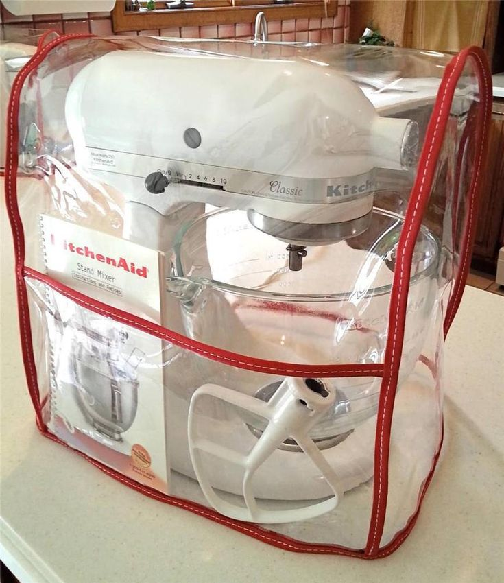 CLEAR MIXER COVER with pocket fits KitchenAid Tilt-Head - RED - 4.5-5 Qt.) #KitchenAid