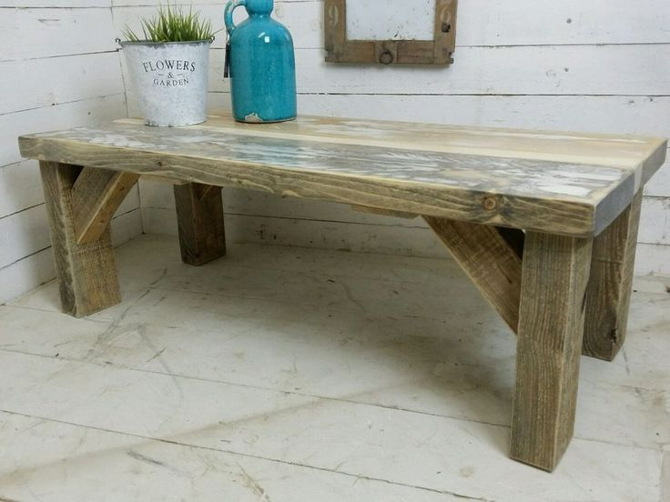 Couchtisch Shabby Weiss Holz Antik Treibholz Bauholz Rustikal Landhaus Loft