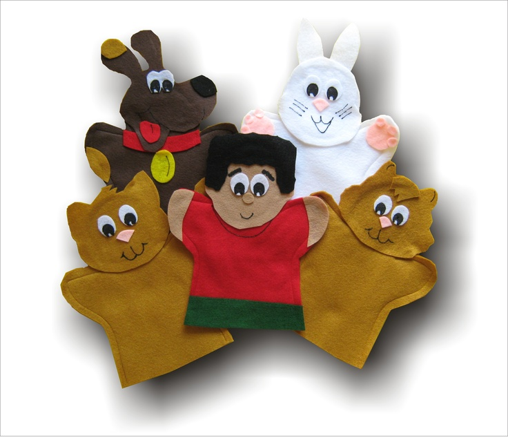 Aim Language Learning http://lisapuppetmaker.com Click on the link beside to go to the website to purchase these hand puppets.  They are used to teach kids French.  This set is called Le petite chat.  maybe your children have seen these before.