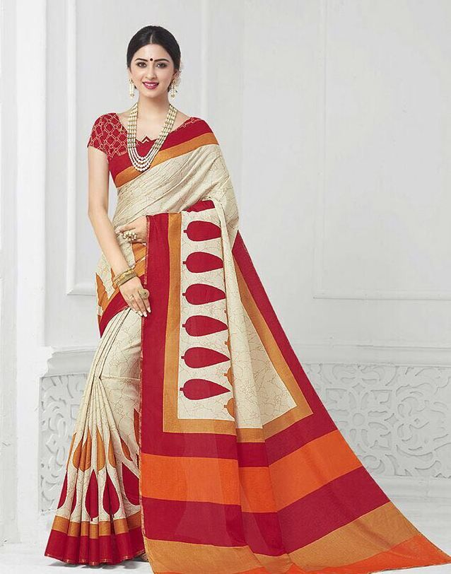 Creme and Red Khadi Silk Saree Fabric of Blouse: Silk Work on Blouse: Embroidery work