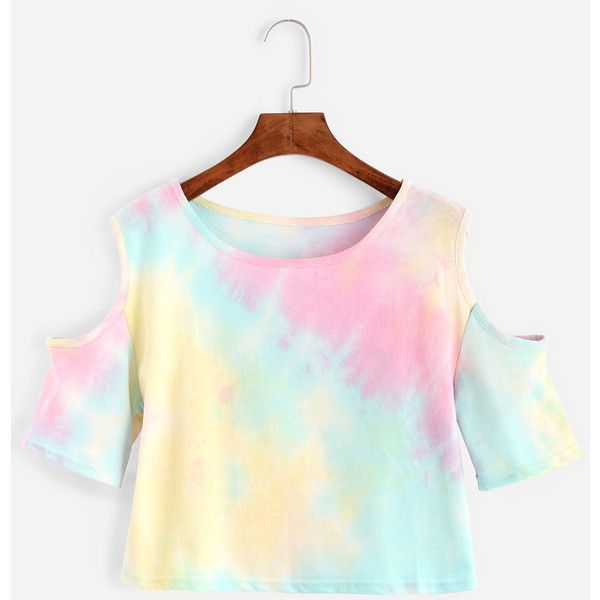 Multicolor Pastel Tie Dye Open Shoulder T-shirt ($8.99) ❤ liked on Polyvore featuring tops, t-shirts, shirts, multicolor, tie dye t shirts, stretch t shirt, white short sleeve shirt, short sleeve shirts and short sleeve tee