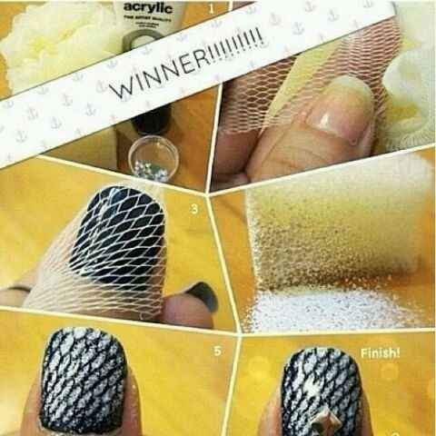 Paint over a loofah for this cool two-tone look. | 27 Lazy Girl Nail Art Ideas That Are Actually Easy