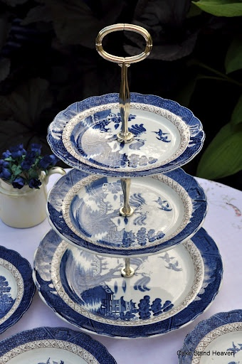 Vintage blue and white Booths Real Old Willow 3 tier cake stand and tea plates