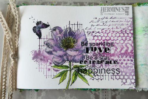 Studio Light stamps (flower), Carabelle Studio (XXL background, ArtSpecially (tekst/tekst), Sheena Douglas (vlinder/butterfly), Technique Tuesday (pluisjes/dandellion seeds), Memento black dye ink, Memento Luxe, kleurpotloden/colouring pencils, sharpie white.