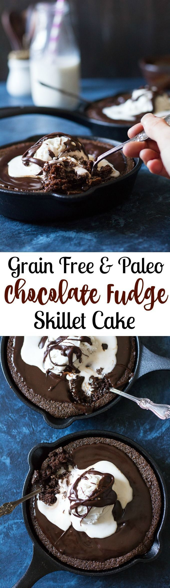 This easy Paleo Chocolate Skillet Cake is super fudgy alone, then topped with hot chocolate fudge and coconut ice cream for a dessert that you won't believe is made with good-for-you ingredients!  Gluten free, grain free, dairy free and kid friendly.