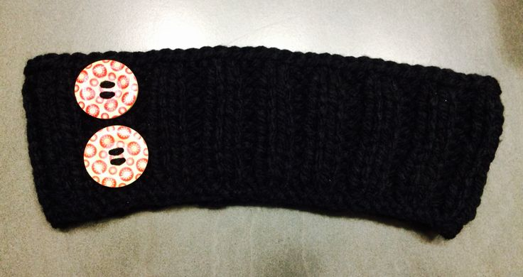 Black Ribbed Headband with Wooden Buttons  Avail any size, $8