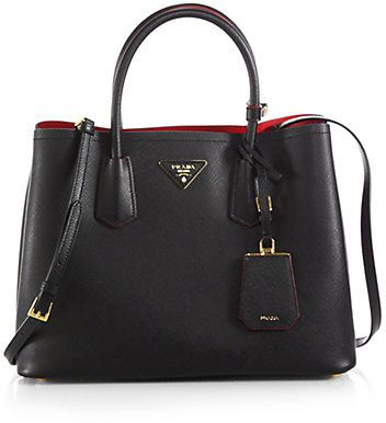 Prada Saffiano Cuir Small Double Bag Crafted From Rich Calf Leather And Designed With A Ious Two Compartment Interior This Classic
