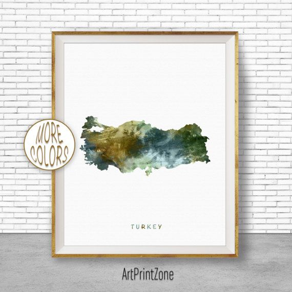 Turkey Map Art, Turkey Print, Watercolor Map, Map Painting, Map Artwork, Country Art, Office Decorations, Country Map Art Print Zone #CountryMap #ArtPrintZone #CountryArt #OfficeDecorations #WatercolorMap