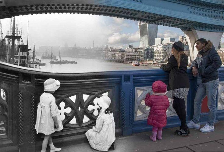 Tower Bridge c.1920 and 2014.