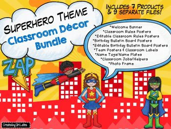 Super cute, superhero theme decor bundle for your classroom! Bundle (over 150 pages) is half off the price of all items, combined. Included are 7 of my products, including the following:*Superhero Birthday Bulletin Board, Editable File Included*Superhero Photo Frame*Superhero Classroom Rules,  Editable File Included*Superhero Classroom Jobs/Helpers*Superhero Name Plates/Name Tags*Superhero Welcome Banner*Superhero Team Signs and Classroom LabelsPlease click the Preview button for an overall…