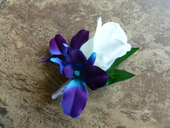 Rose galaxy orchid boutonniere purple blue by DressMyWedding