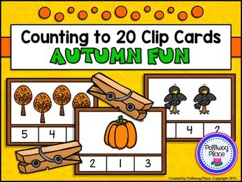 Counting to 20 Clip Cards: Autumn FunThis  Counting to 20 Clip Card set contains 20  printable clip cards that  focus on counting to 20.  Students  count  the pictures and clip the correct number.Clip  cards create an engaging center activity with very little prep.