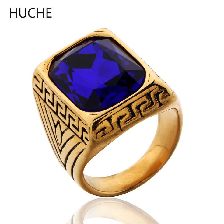 HUCHE Vintage Yellow Stainless Steel Rings for Men Blue Simulated Gemstone Gothic Carved Ring Jewelry Gold-Color SZ 8-12 ZBR069