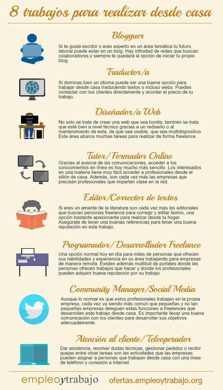 8 Trabajos para realizar desde casa #infografia #infographic #empleo
