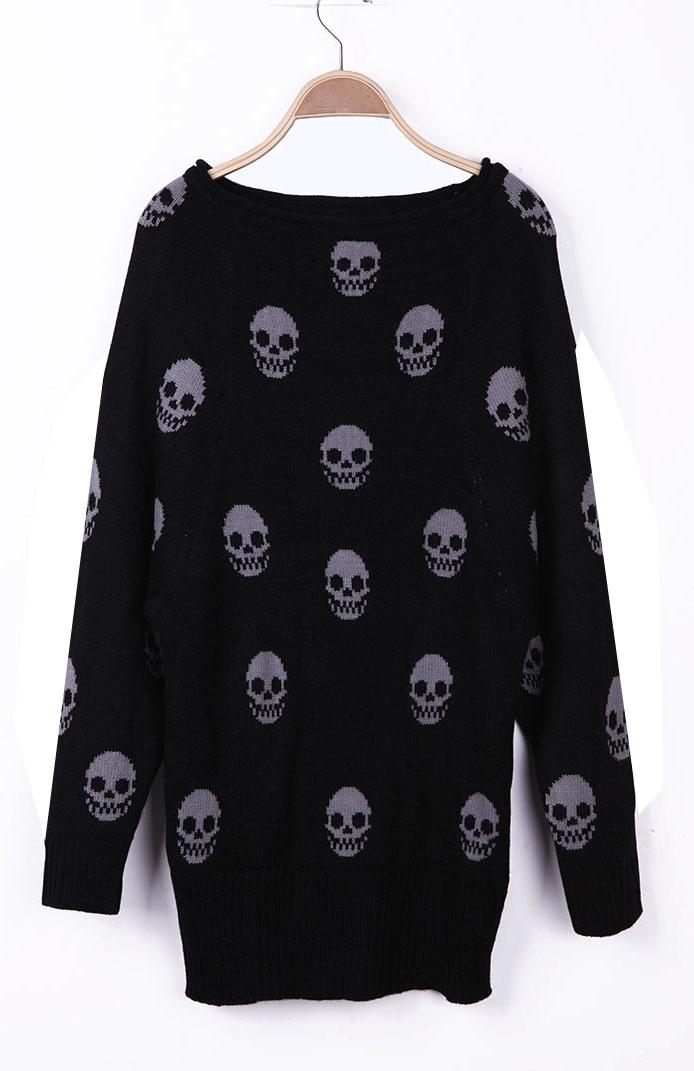 Black Skull Pattern Reglan Sleeve Boat Neck Sweater #SheInside