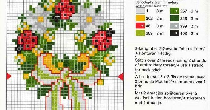 15 πανέμορφα στεφάνια με λουλούδια και ......κεράσια   κεντημένα σταυροβελονιά   15 lovely cross stitch wreaths of flowers and ...........