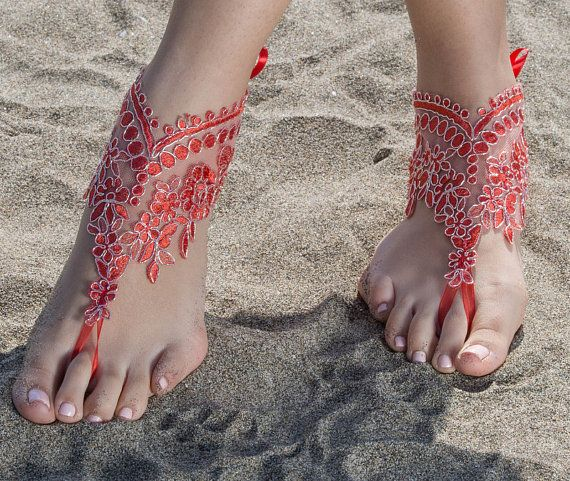 Red Beach wedding barefoot sandals Lace Bridal Sandals Red
