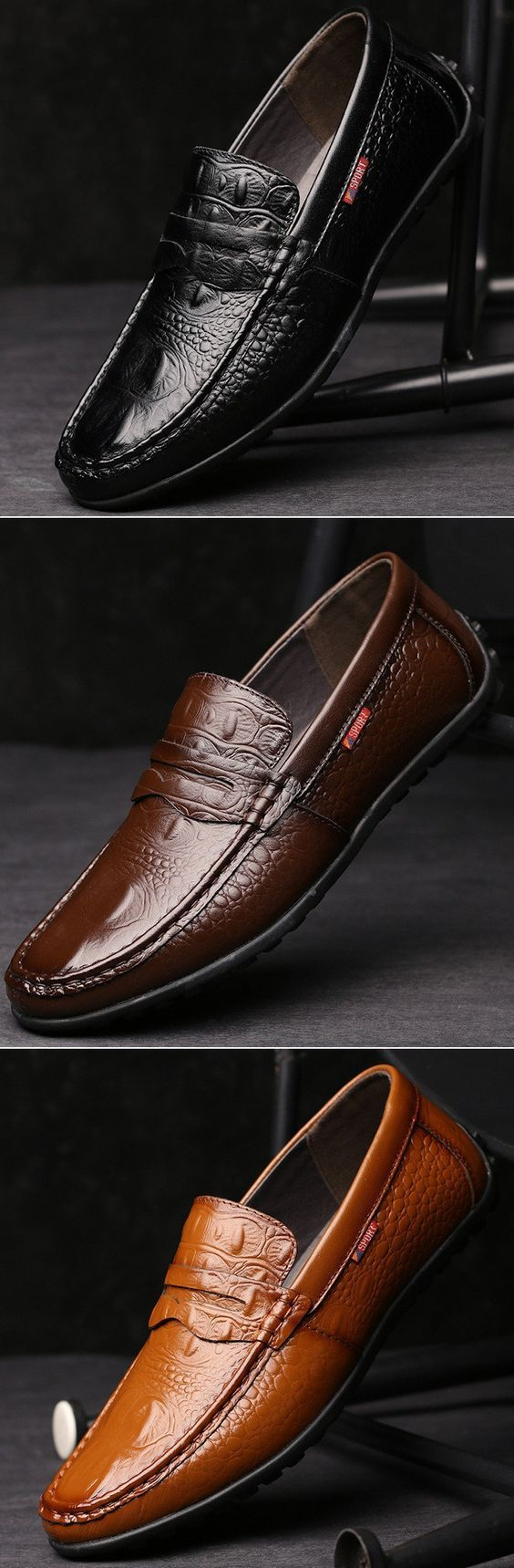 Men Crocodile Pattern Soft Slip On Doug Shoes Casual Leather Driving Loafers