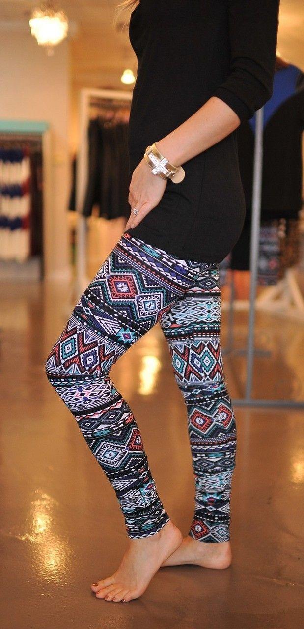 aztec leggings - do I like these? I think I like these...maybe... with a big oversized sweater....