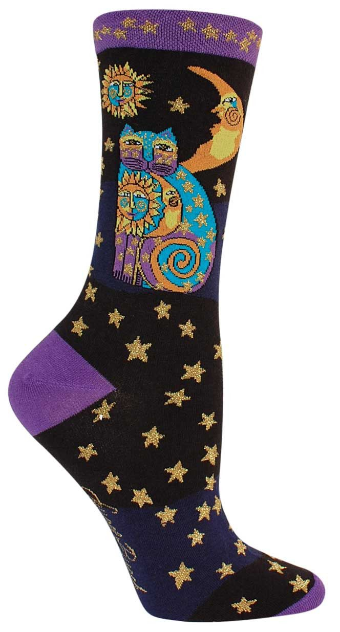 Laurel Burch is a well-known artist and a line of socks has been honored with images of her artwork. This style has purple and turquoise cat surrounded by a sun and moon and stars motif decorated with