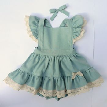 Giselle Dress in Storm Blue Linen with ivory eyelet lace ruffles by Sunshine Baby Clothing