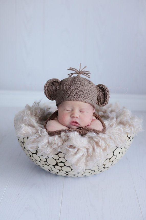 Baby Monkey Hat Crochet Baby Hat Baby Halloween by Monarchdancer