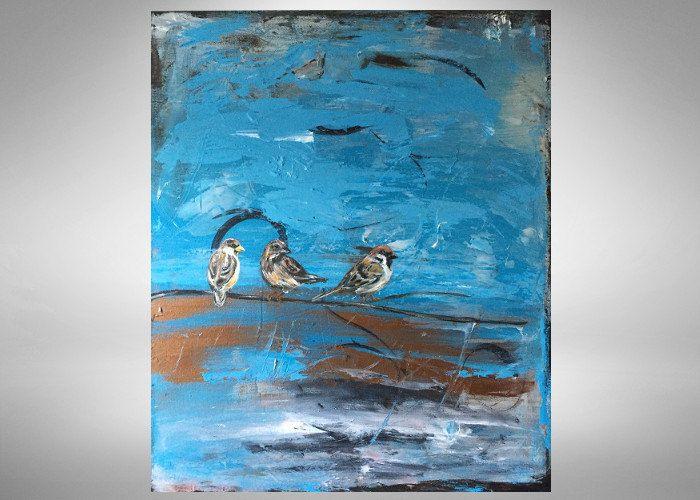 Tres pequeños pájaros  pintura abstracta con aves inspiradas