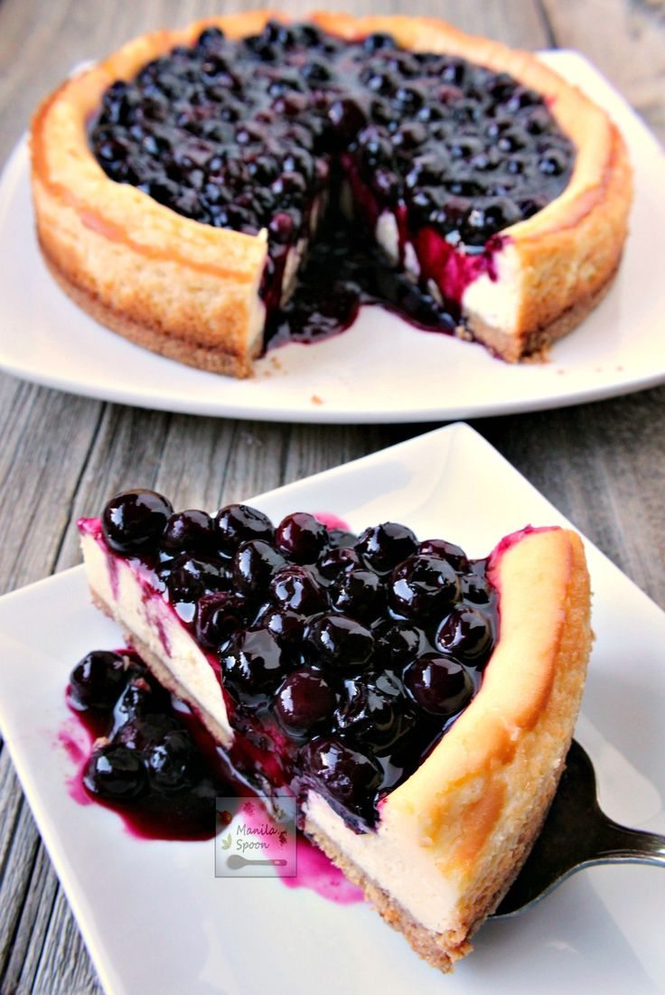 Delicious and creamy blueberry cheesecake with a luscious sweet-tangy sauce that brings this dessert over the top. Fresh or frozen blueberries can be used so it's an all-season dessert. Perfect as Christmas or New Year holiday dessert! | manilaspoon.com