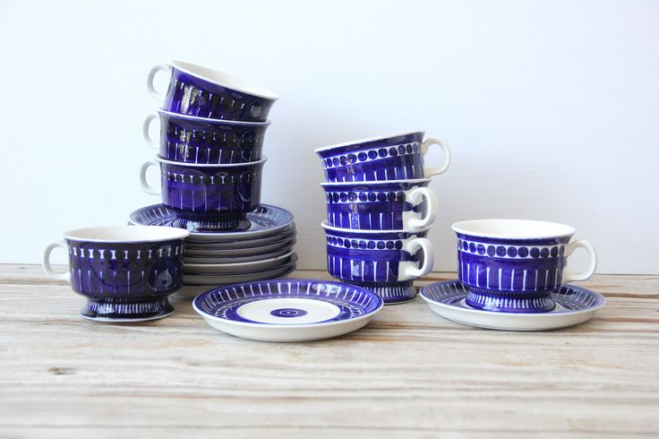 Indigo Blue Arabia of Finland Valencia Cups & Saucers. Designed by Ulla…