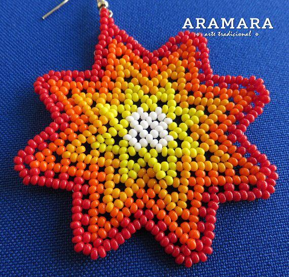Arte Huichol cuentas estrellas pendientes AO-0171 Huichol