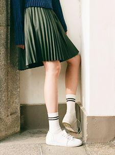 pleated schoolgirl skirt and socks