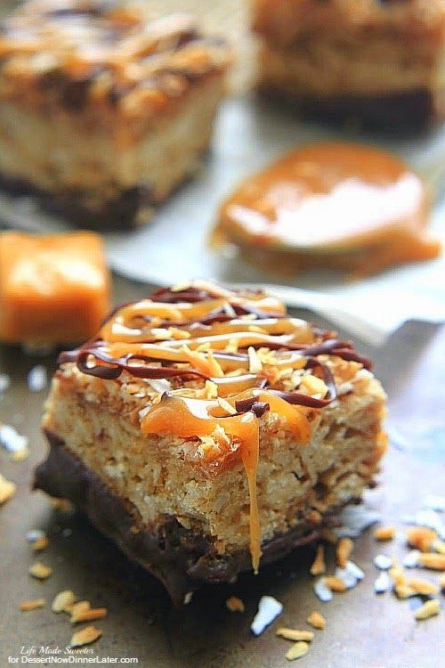 Samoa Oatmeal Cookie - These soft  and chewy oatmeal cookie bars combine the beloved caramel, chocolate and coconut flavors of the  popular Samoas Girl Scout cookies.Bars.jpg