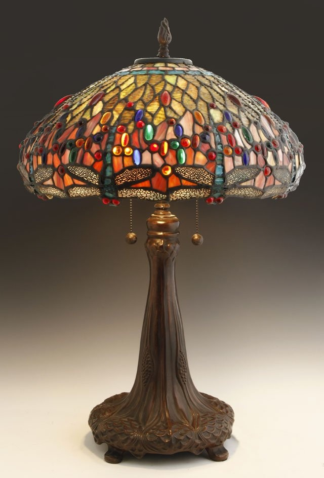 48 pair of tiffany style leaded glass dragonfly lamps on