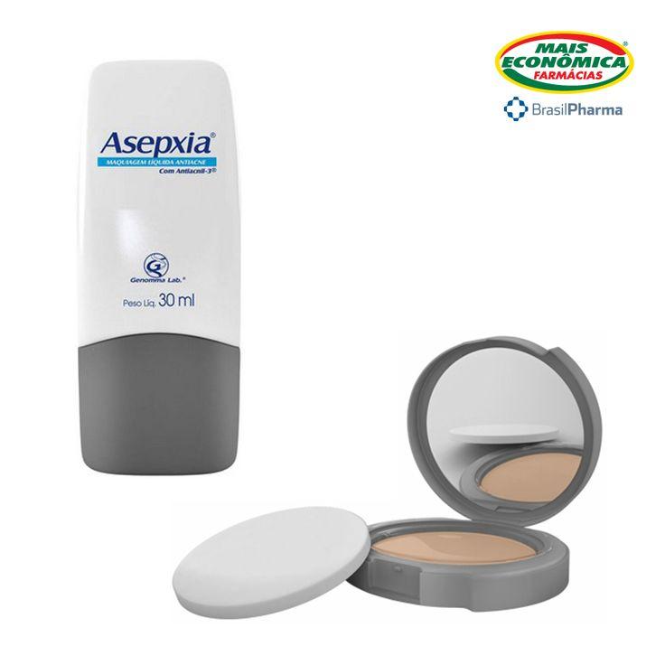 Um produto que, ao mesmo tempo, combate e esconde cravos e espinhas da sua pele? A linha de maquiagem Asepxia é novidade nas nossas lojas!