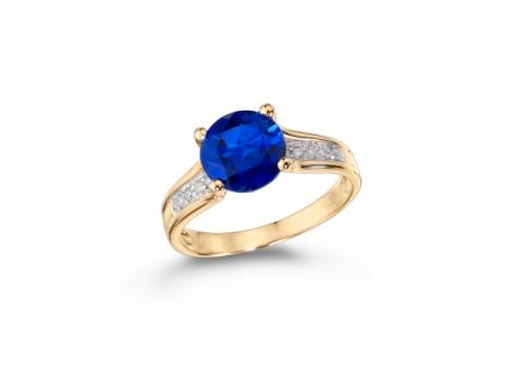 10K Yellow Gold Created Blue #Sapphire and #Diamond #Ring $299.99