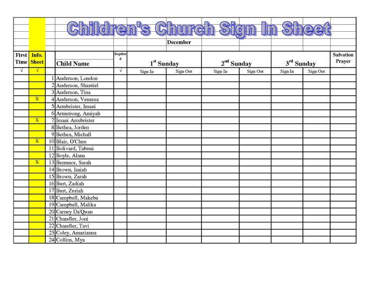 children's church sign in sheet template - Google Search